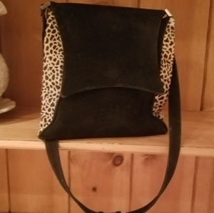 Handbags - Suede and stamped leopard print purse.